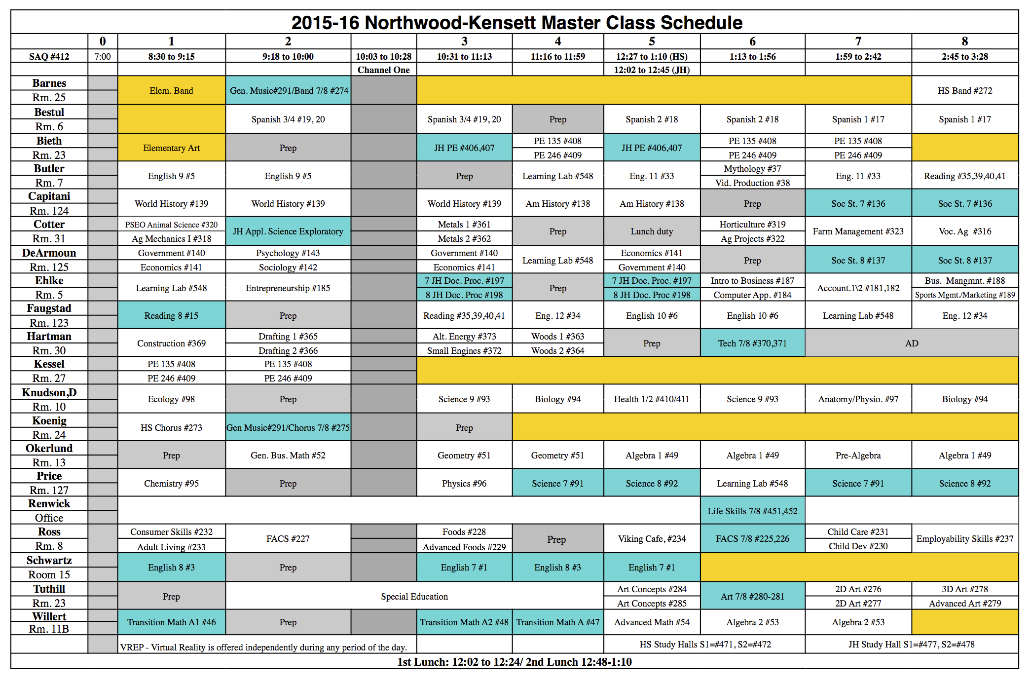 2015-2016 High School Class Schedule