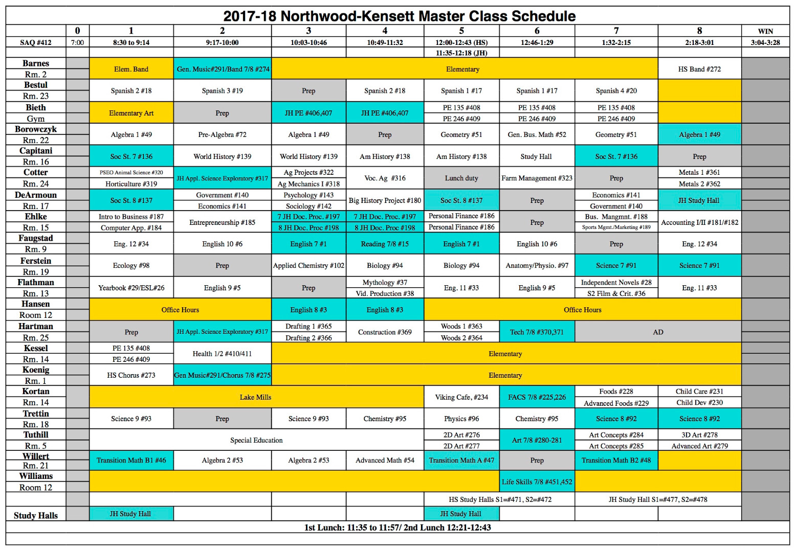 college school schedule template - northwood kensett 2017 2018 high school class schedule