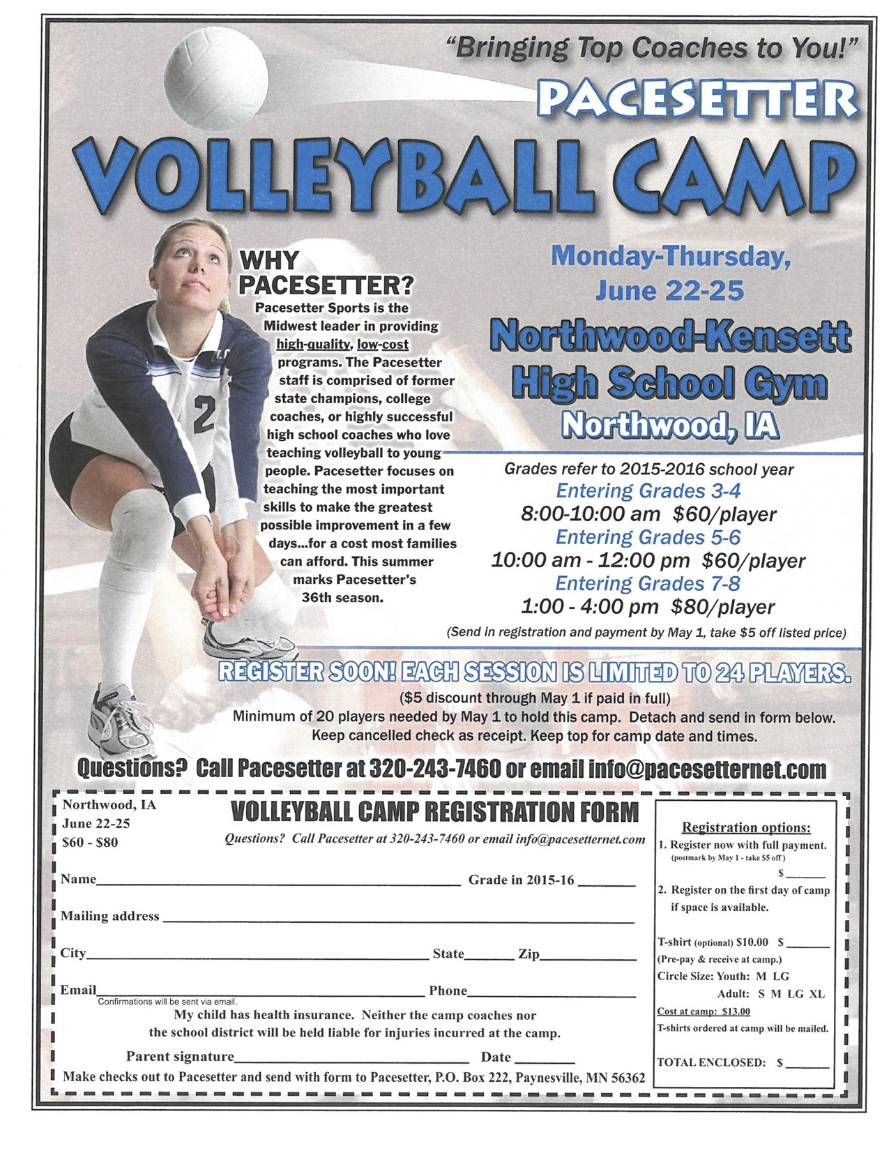 Northwood-Kensett - Pacesetter Volleyball Camp Form
