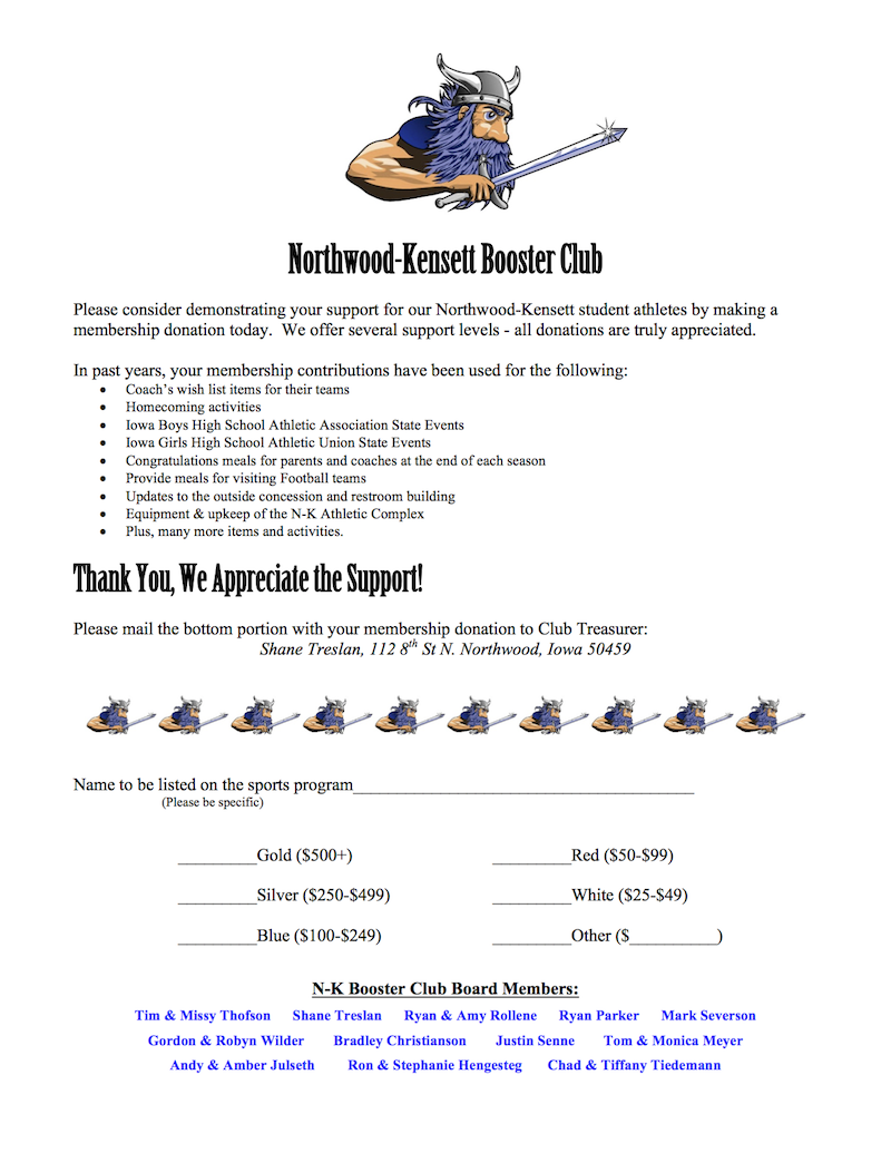 NK Booster Club Membership Form  Membership Forms Templates