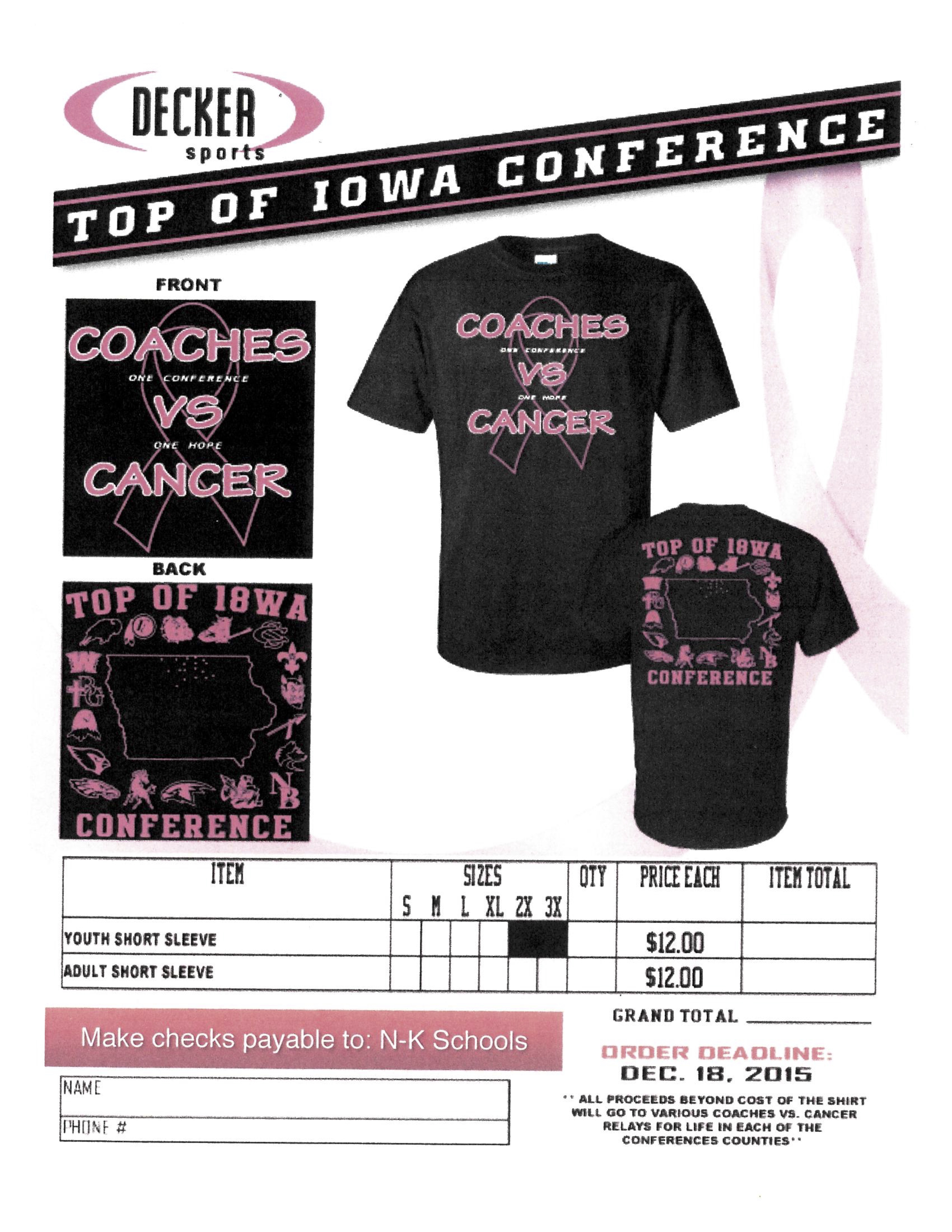 NorthwoodKensett Coaches vs Cancer T Shirt Order Form – T Shirt Order Form