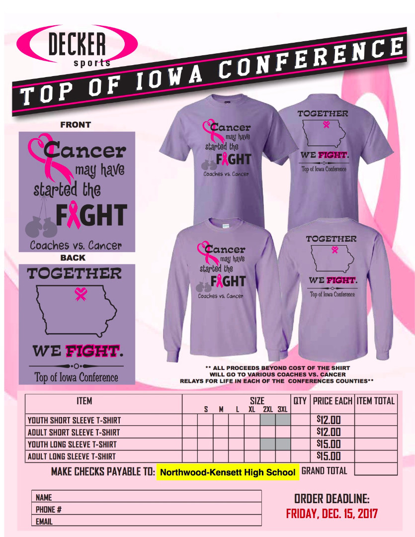 Coaches vs Cancer shirt and order form